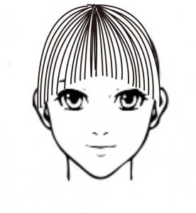 前髪のカーブライン1